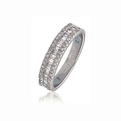 18ct White Gold 0.33ct Baguette and Brilliant Cut Diamond Ring