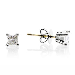 18ct Gold 0.50ct Princess Cut Diamond Butterfly Back Earrings