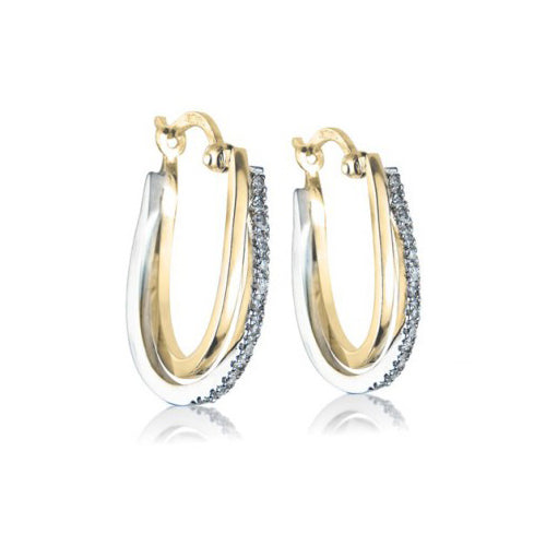 9ct Yellow & White Gold Diamond Loop Earrings