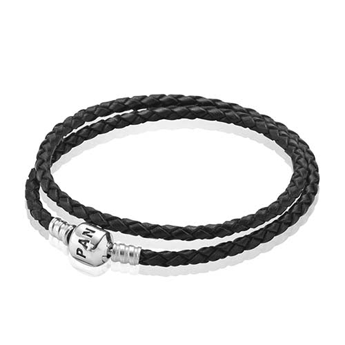PANDORA Silver and Black Leather Double Bracelet