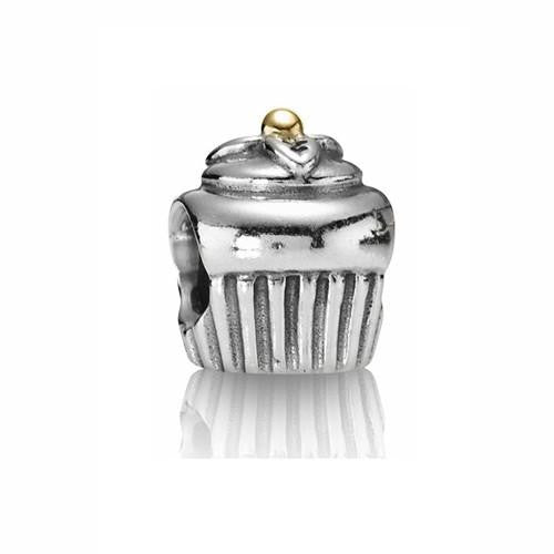 PANDORA 14ct Gold and Silver Cupcake Charm