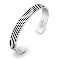 Hoxton London Silver Striped Cuff Bangle