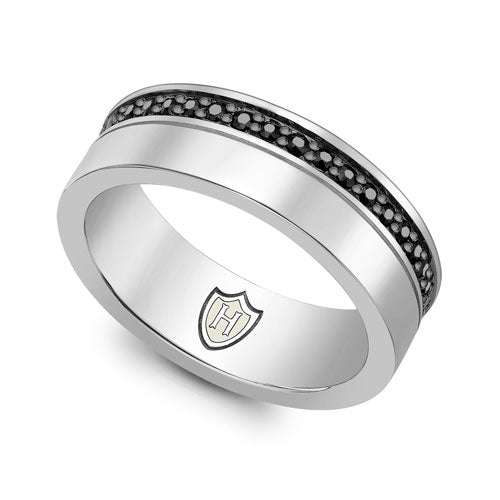 Hoxton London Silver & Black Sapphire Band Ring