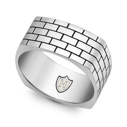 Hoxton London Silver Brick Pattern Square Ring