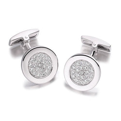 Hoxton London Silver & Zirconia Round Cufflinks