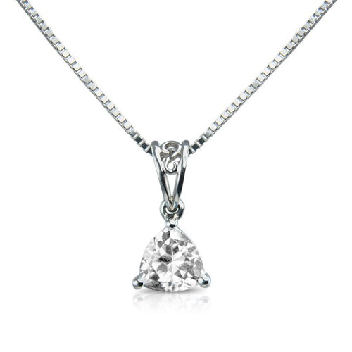 Mark Milton 9ct White Gold & Brilliant Cubic Zirconia Pendant Necklace