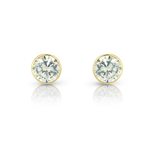 9ct Yellow-Gold Cubic Zirconia 6mm Round Stud Earrings
