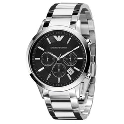 Emporio Armani Renato Steel & Black Strap 43 mm Men's Watch