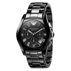 Emporio Armani Gents Black Steel Chronograph Watch