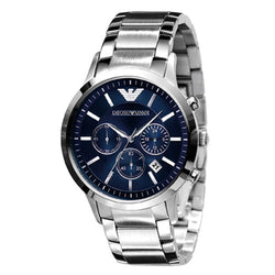 Emporio Armani Gents Steel Strap & Blue Chronograph Watch