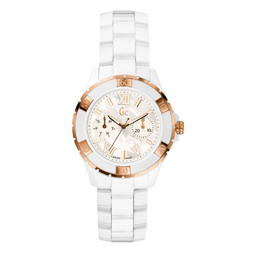Gc Ladies Mother-of-Pearl White Ceramic Watch