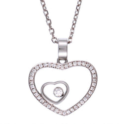 Chopard 18ct White Gold & Diamond Double Heart Necklace