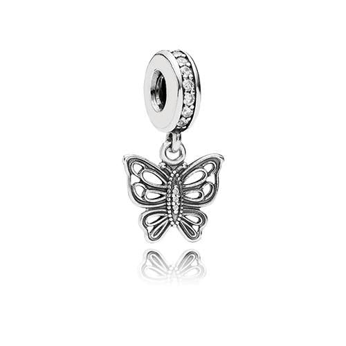 PANDORA Silver and Zirconia Vintage Butterfly Pendant Charm