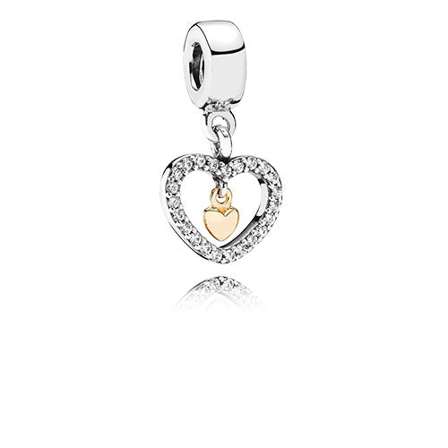 PANDORA Silver and Gold Forever in My Heart Pendant Charm