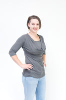 Cowl Neck Nursing Top - ¾ Sleeve
