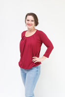 Pleated Nursing Top – ¾ Sleeve