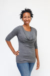 ¾ Sleeve Cowl Neck Nursing Top