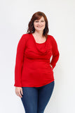 Cowl Neck Nursing Top - Long Sleeve