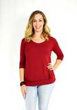 Three-quarter length sleeve breastfeeding shirt in trendy maroon, perfect for the holidays. Made with a buttery-soft viscose blend. Designed in the US.