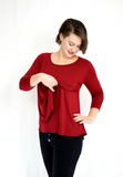 Scoop Neck Nursing Tee - 3/4 Sleeve