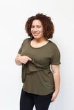 Scoop Neck Nursing Tee - Short Sleeved