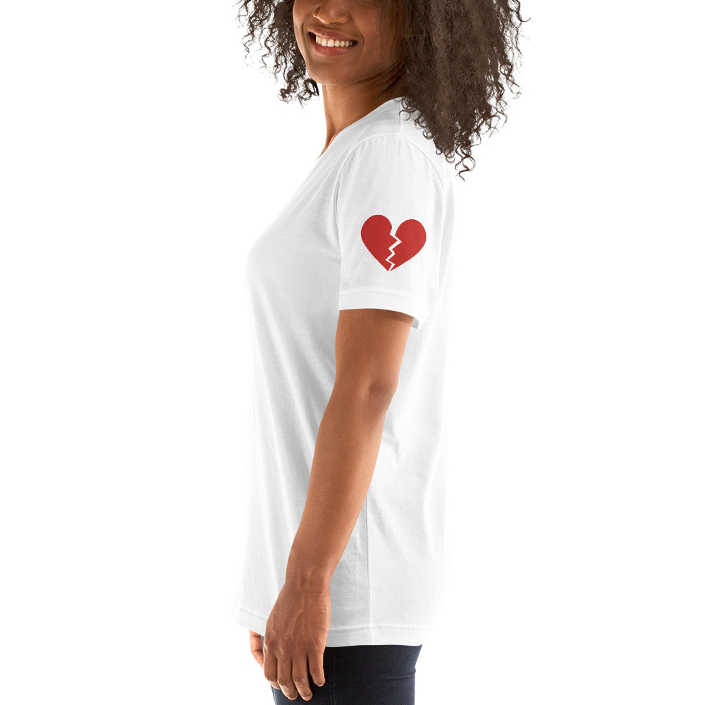 George & Georgette, Broken heart / Full heart Mismatched Sleeves T-Shirt, , mismatched shoes
