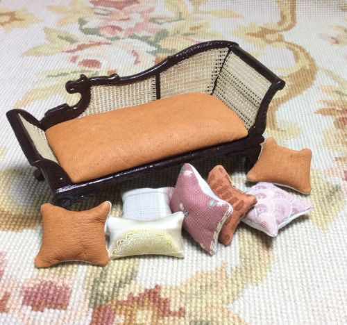Sofa Seat Couch Chaise Lounge Divan Settee Leather with Pillows 1:12 Scale SPECIAL ORDER  Dollhouse Miniature