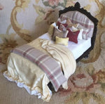 Bespaq Bed with Drape Pillows Dressed 1:12 Scale SPECIAL ORDER  Dollhouse Miniature