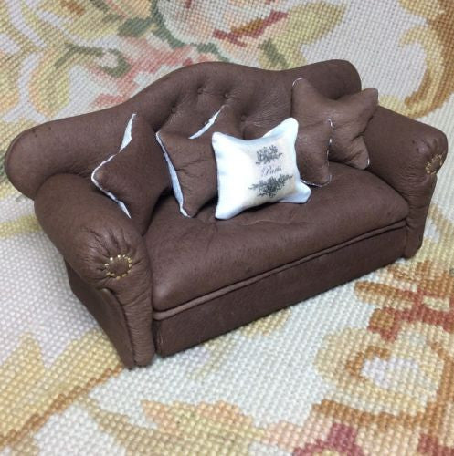 Sofa Couch Lounge Divan Settee Fainting Leather 1:12 Dollhouse Miniature