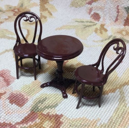 Table & Chairs Patio Cafe Bistro Set 1:12 Dollhouse Miniature