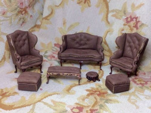 Sofa Wing Seat Couch Lounge Divan Settee Leather 1:12 Scale SPECIAL ORDER  Dollhouse Miniature