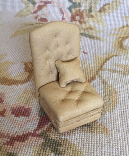 Chair Seat Leather with Pillow 1:12 Dollhouse Miniature