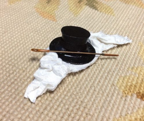 Shelf Filler Dressed with Top Hat Silk Drape Riding Crop 1:12 Dollhouse Miniature