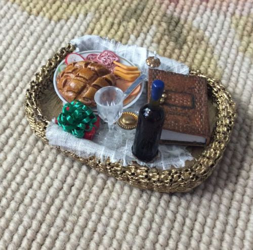 Basket Wicker Tray Dressed with Cheese Book Wine 1:12 Dollhouse Miniature