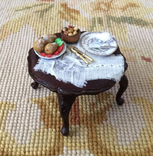 Bespaq Table Dressed with Drape Fruit Plate 1:12 Dollhouse Miniature