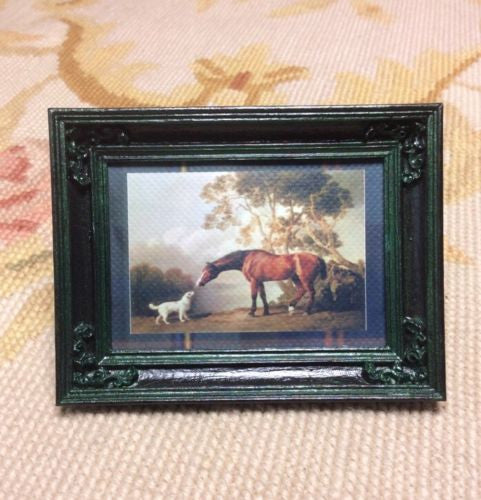 Painting Picture Horse & Dog 1:12 Dollhouse Miniature Art
