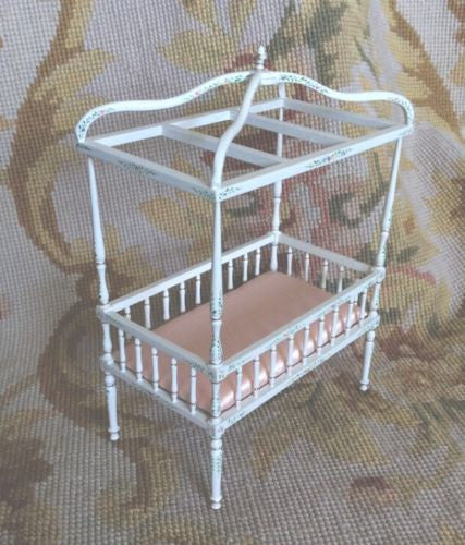 Bespaq Bed with Canopy Baby Bassinet Cradle Crib 1:12 Dollhouse Miniature