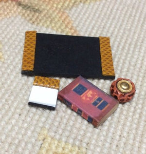 Desk Set with Accessories 1:12 Dollhouse Miniature