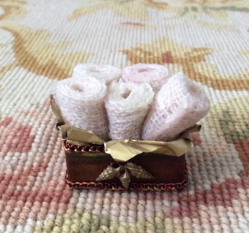 Box with Fabric Rolls 1:12 Dollhouse Miniature