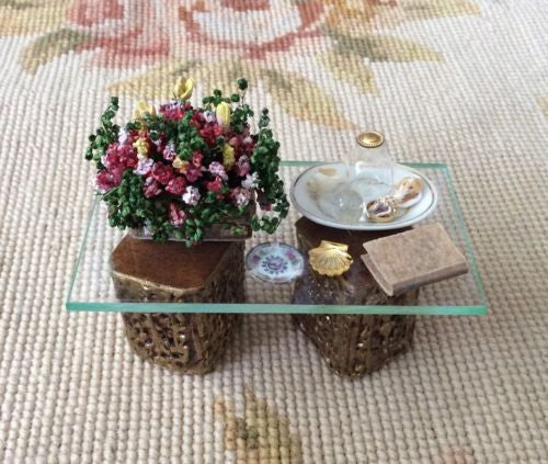 Table Dressed with Plant Book Plate 1:12 Dollhouse Miniature