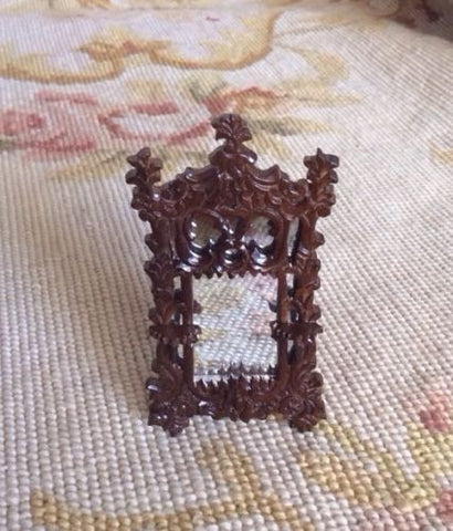 "Bespaq 1/2"" Half-Inch Walnut Mirror Looking Glass 1:24 Dollhouse Miniature"
