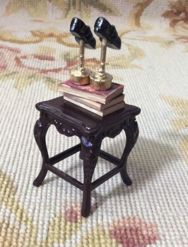 Bespaq Table Dressed with Shoes Books 1:12 Dollhouse Miniature