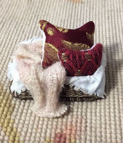 Basket Wicker Dressed with Pillows & Drape 1:12 Dollhouse Miniature