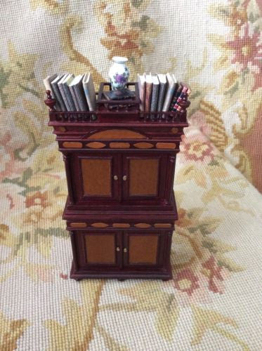 Bespaq Shelf Bookcase Hutch Cabinet Dressed 1:12 Dollhouse Miniature