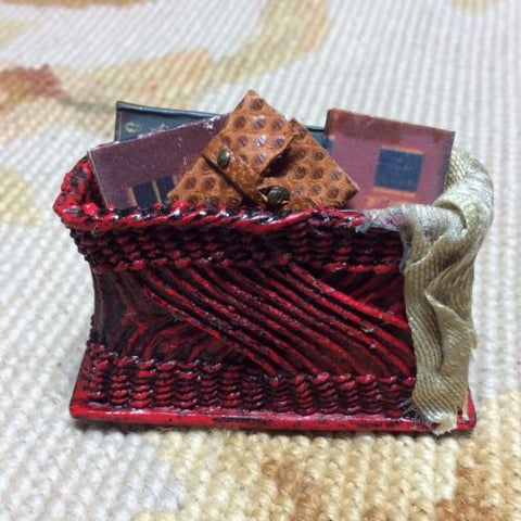 Basket Container Dressed with Drape Wallet Books 1:12 Dollhouse Miniature