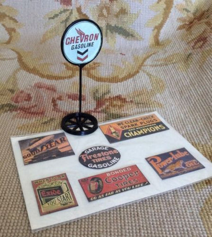 Sign Gas Station Garage Marker Shingle Collection 1:12 Dollhouse Miniature