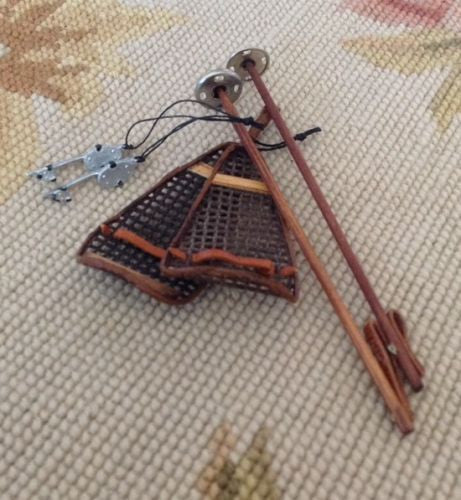 Snow Shoes Ski Poles Ice Skate Collection 1:12 Dollhouse Miniature