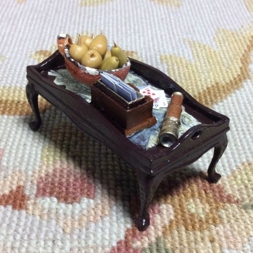 Bespaq Table Dressed Tray Playing Cards Telescope Bowl Fruit 1:12 Dollhouse Miniature