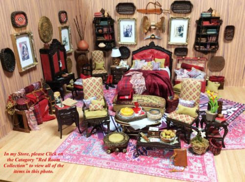 Bespaq Chair Seat in Plaid with Pillow 1:12 Dollhouse Miniature