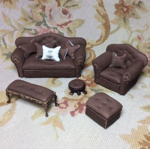 Chair Club Leather with Pillow 1:12 Scale Dollhouse Miniature
